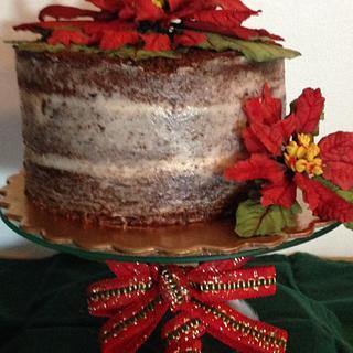 Ponsettia Naked Cake - Cake by Daphne Lopez