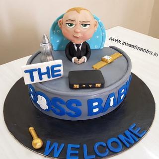 Boss Baby theme customized cake for welcoming newborn
