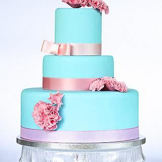 Pink and blue ruffles cake