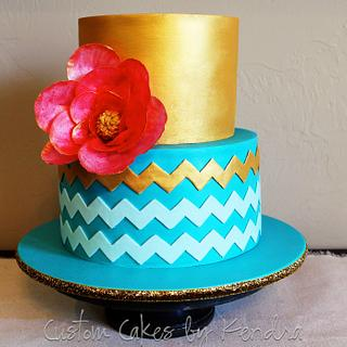 Teal and Gold Chevron - Cake by Kendra
