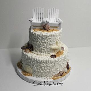 Beach Wedding Cake - Cake by Donna Tokazowski- Cake Hatteras, Hatteras N.C.