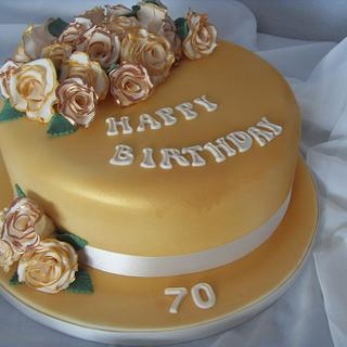 Cream & Gold Roses 70th Birthday Cake