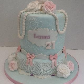 Vintage lace, pearls and roses 21st Birthday Cake