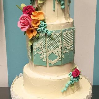 All chocolate! Romantic chocoholic wedding cake.
