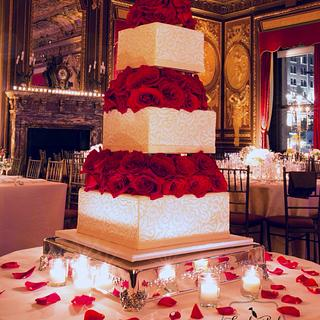 Romantic Brocade Wedding Cake