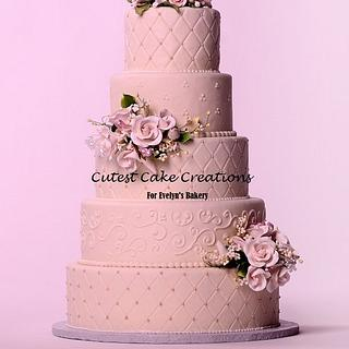 Blushing pink wedding cake