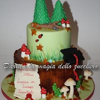 Forestry graduation cake