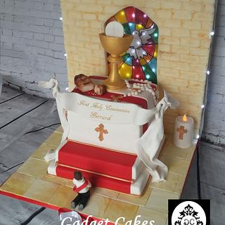 Holy Communion Cake with edible stained glass window!
