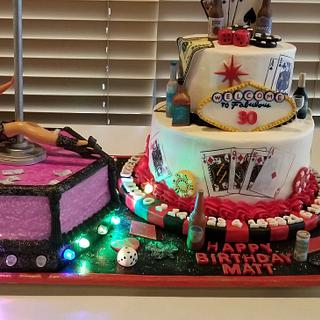 Las Vegas/Casino/Stripper themed 30th birthday cakes