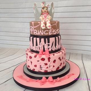 Girly Animal Themed Cake - Cake by Sweet Lakes Cakes