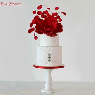 Red Fantasy Flower Cake