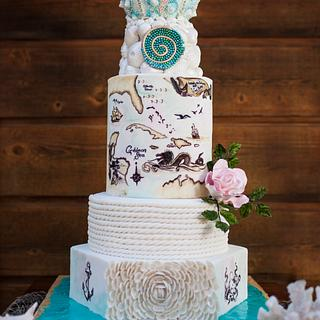 Vintage Nautical Map Wedding Cake--Cake Central Cover