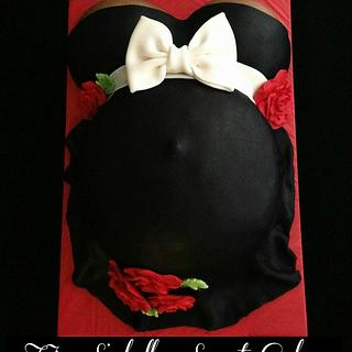 Black & Red Pregnant Belly Cake - Cake by Tyla Mann