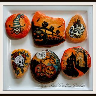 Hand painted halloween themed macarons