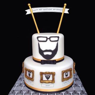 Beard-themed party cake!