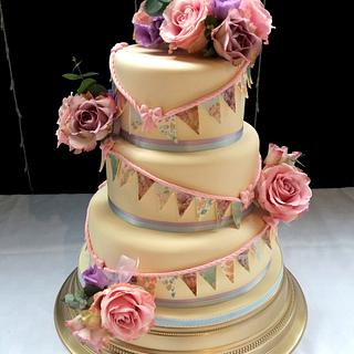 Vintage Wedding Cake with Bunting & Flowers
