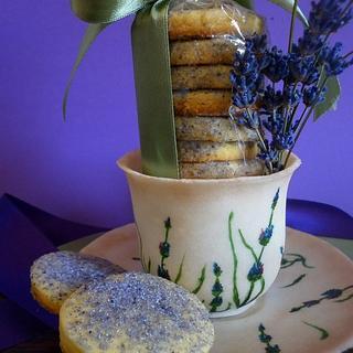 Lavender biscuits with gumpaste cup