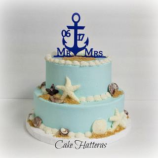 Ocean Blue Beach Wedding Cake
