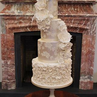Luxe Pearls & Lace Ruffled Wedding Cake