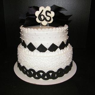 Black & White themed birthday cake - Cake by Judy Remaly