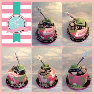 Girly camo tank cake