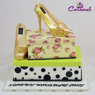 Shoe and Shoe Box Cake - Cake by Caramel Doha