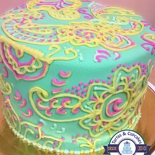 Torta Mandala inspirada en Henna (Mandala Cake Henna inspired)
