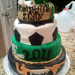 Soccer and Band Graduation Cake