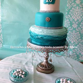 Ombre Ruffle, Cake