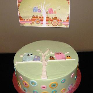 Owl invitation cake