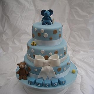 Blue spot Christening Cake - Cake by Deborah Cubbon (the4manxies)