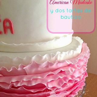 Ombre ruffled baptism cake for Andrea