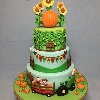 Pumpkin Patch and Corn Maze Cake