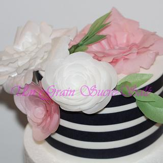 Cake with flowers wafer paper...