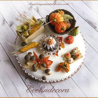Miniature food: Autumn icing cookie