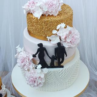Piping, Silhouette, Sequins and Bouquet Wedding Cake and Mini Gluten Free - Cake by Mother and Me Creative Cakes