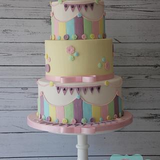 Pastel buttons Baptism cake