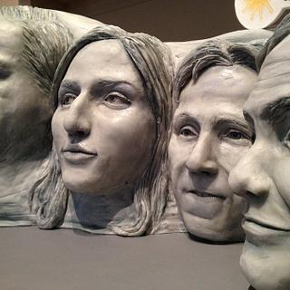 Mount Rushmore shaped cake of comedian's faces