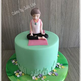 Yoga themed birthday cake