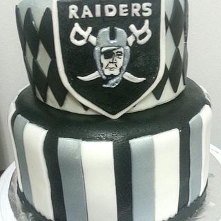 Outstanding Oakland Raiders 2 Cakes Cakesdecor Funny Birthday Cards Online Inifofree Goldxyz