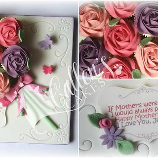 Mothers Day Floral Rose Cupcake Board Bouquet
