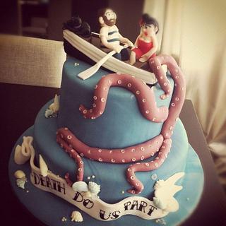 Retro Marine Wedding Cake - Cake by Licky Lips Cakes
