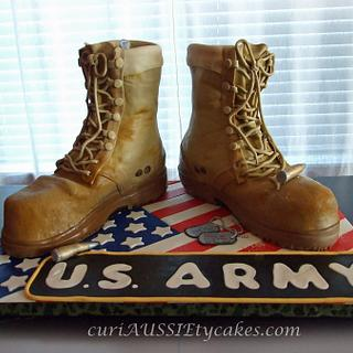 Army boots cake