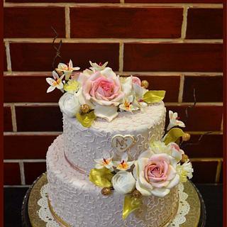 Antique pink engagement cake