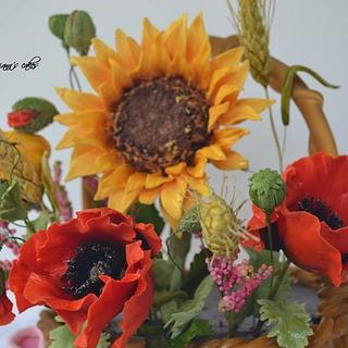 basket of wild flowers