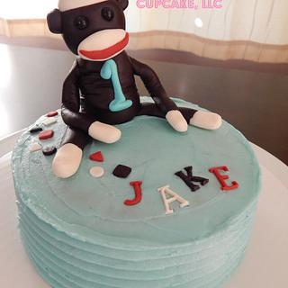 Sock Monkey Smash Cake for Jake