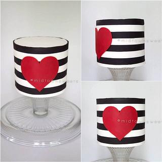 Black & White Striped Cake with Red Heart