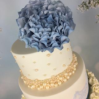Dusky blue peony wedding cake  - Cake by Melanie Jane Wright