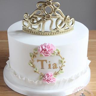 1st birthday cake with fondant no 1 tiara
