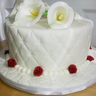 White Calla Lily Red Rose Wedding Cake